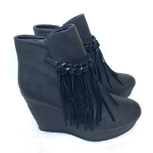 Sbicca Vegan Leather Fringe Ankle Wedge Booties